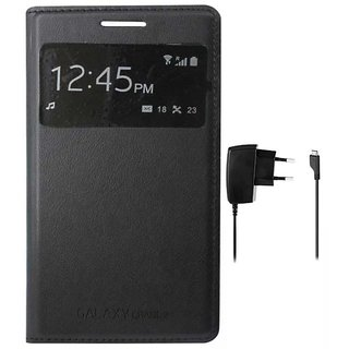 Black S View  Flip Cover for Samsung Galaxy Grand 2 G7102 with Wall Charger
