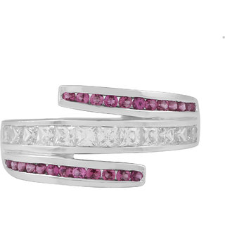 Allure 925 Sterling Silver Pink Tourmaline and Cubic Zirconia Band Ring