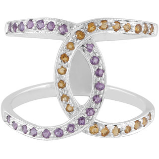 Allure Jewellery 925 Sterling Silver beautiful Amethyst and Citrine Ring