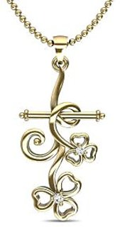 Arrow Of Cupid Gold And Diamond Pendant