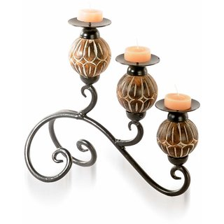 3 Steps Wood  Iron Candle Stand For Perfect Home