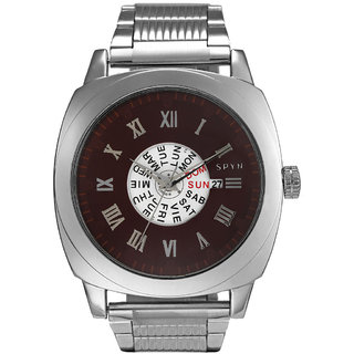 Spyn Full Day Date Display Steel Belt Casual Wrist Watch for men Mens Watch-SS0007Brown