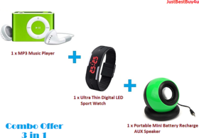 Combo of Portable Mini AUX Battery Speaker, Digital LED Watch, MP3 Music Player