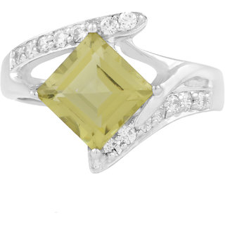 925 Sterling Silver designer Ring by Allure with Lemon Quartz Gemstone