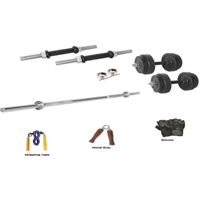 RMC RUBBER HOME GYM SET (30 Kg Rubber Plates +1 Pair Dumbel Rod + Free Gloves +free Skiping Rope + 1 Pc Hand Grip + 3 FT Plain + Locks)