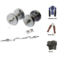 RMC  STEEL HOME GYM SET (16 Kg Steel Plates +1 Pair Dumbel Rod + Free Gloves +free Skiping Rope + 3ft Ez Curl BAR + Locks)