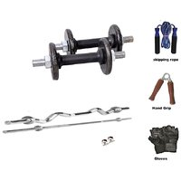 RMC  Cast Iron Home Gym TRICEPS AND BISEPS (5 Kg Cast Iron Plates +1 Pair Dumbel Rod + Free Gloves +free Skiping Rope + 3ft Ez Curl BAR + 5ft Bar + Locks)