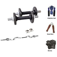 RMC  Cast Iron Home Gym TRICEPS AND BISEPS (35 Kg Cast Iron Plates +1 Pair Dumbel Rod + Free Gloves +free Skiping Rope + 1 Pc Hand Grip+ 3ft Ez Bar)