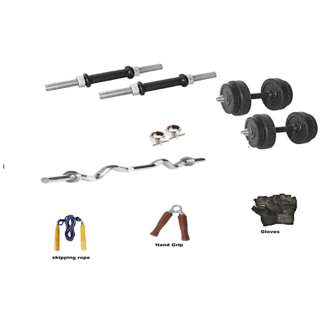 RMC RUBBER HOME GYM SET (10 Kg Rubber Plates +1 Pair Dumbel Rod + Free Gloves +free Skiping Rope + 1 Pc Hand Grip + 3 FT EZ CURL BAR + Locks)
