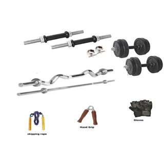 RMC RUBBER HOME GYM SET BISECPS AND TRICEPS SET (24 Kg Rubber Plates +1 Pair Dumbel Rod + Free Gloves +free Skiping Rope + 1 Pc Hand Grip + 3 FT EZ CURL BAR + 5ft BAR + Locks)