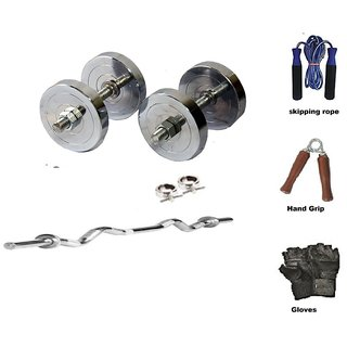 RMC  STEEL HOME GYM SET (4 Kg Steel Plates +1 Pair Dumbel Rod + Free Gloves +free Skiping Rope + 3ft Ez Curl BAR + Locks)