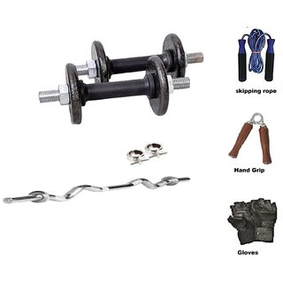 RMC  Cast Iron HOME GYM SET (20 Kg Cast Iron Plates +1 Pair Dumbel Rod + Free Gloves +free Skiping Rope + 3ft Ez Curl BAR + Locks)