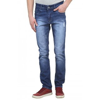 Raux Mens Dark Blue faded Slim Fit Jeans