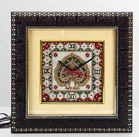 Aapno Rajasthan Marble Wall Clock with Dual Dancing Peacock Motif