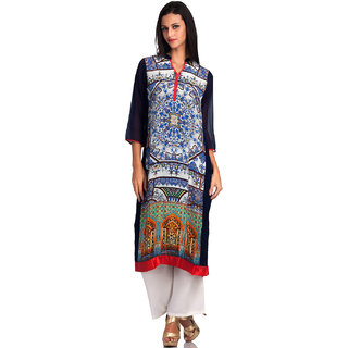 Basil Leaf Straight Georgette Printed Regular Fit Kurti For Women