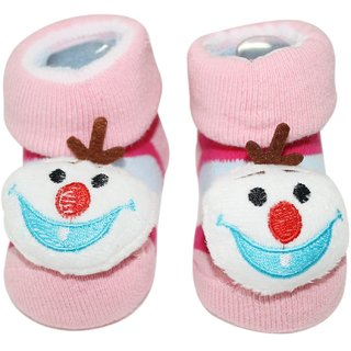 Wonderkids Snowman Plush Baby Socks Booties - Pink