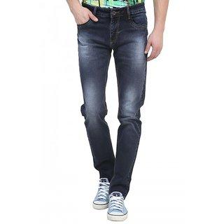 Raux Mens Dark Blue Slim Fit Jeans