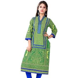 VALAS Womens Cotton Printed Pear Green Long Kurti