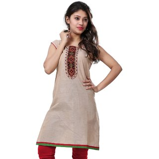 VALAS Womens Cotton Printed Beige Long Kurti