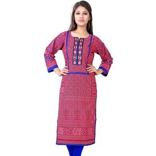 VALAS Womens Cotton Printed Blush Red Long Kurti