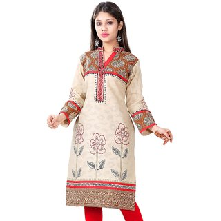 VALAS Womens Cotton Printed Ivory White Long Kurti