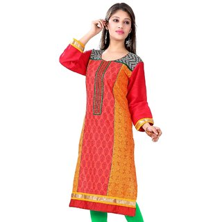 VALAS Womens Cotton Printed Crimson Red And Orange Long Kurti