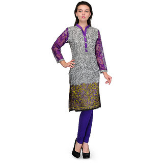 Visach WomenS Cotton 3/4Th Sleeves Printed Grey, Purple Kurti-M