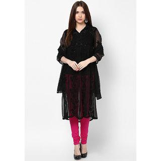 Visach WomenS Faux Georgette 3/4Th Sleeves Solid Black Kurti-36