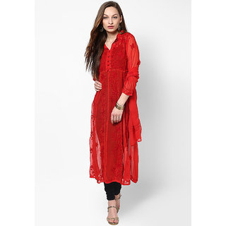 Visach WomenS Faux Georgette 3/4Th Sleeves Solid Red Kurti-34