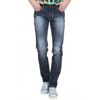 Raux Mens Blue faded Slim Fit Jeans