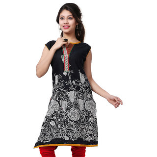 VALAS Womens Cotton Printed Black Long Kurti