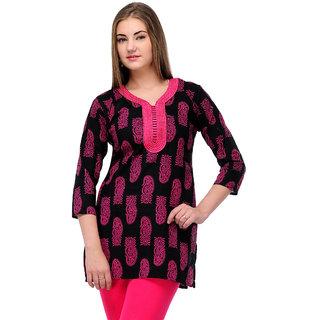 Visach WomenS Cotton 3/4Th Sleeves Printed Pink Kurti-Xl