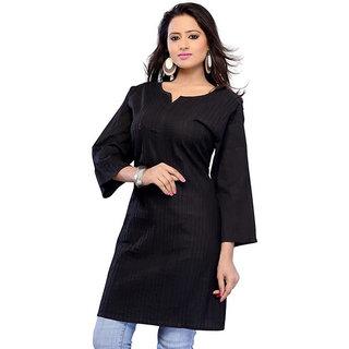 Visach WomenS Cotton 3/4Th Sleeves Solid Black Kurti-Xl
