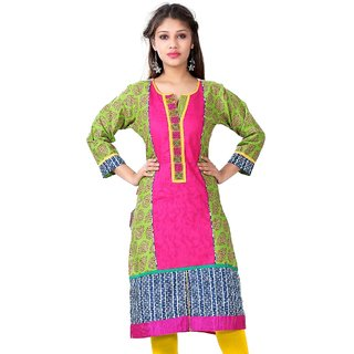 VALAS Womens Cotton Printed Multicolor Long Kurti