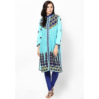 Visach WomenS Cotton 3/4Th Sleeves Printed Blue Kurti-36