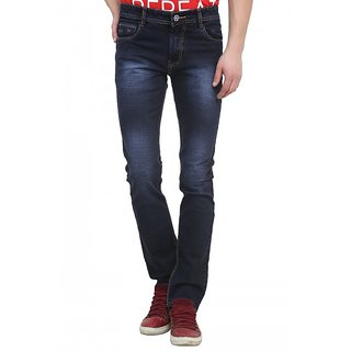 Raux Mens Dark Blue Slim Fit Jeans