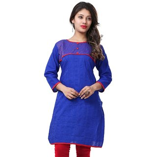 VALAS Womens Cotton Printed Blue Long Kurti