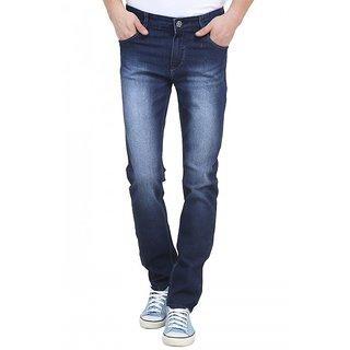 Raux Mens Dark Blue faded Slim Fit Jeans