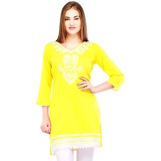 Visach WomenS Rayon 3/4Th Sleeves Solid Yellow Kurti-L