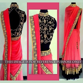 Thankar Peach Embroidery Georgette Lehenga