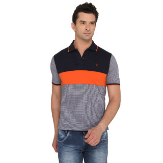 Donear NXG Orange Colour Striped T-Shirt