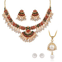 Nisa Pearls Red Coloured Gold Plated Necklace (Design 2)