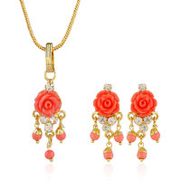 Nisa Pearls Pink Coloured Gold Plated Necklace