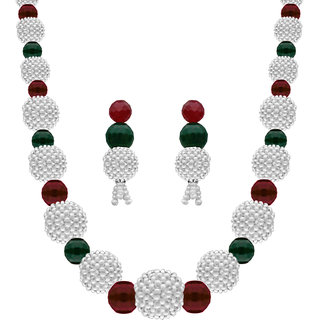 Nisa Pearls Red/white/Green Coloured Silver Plated Necklace