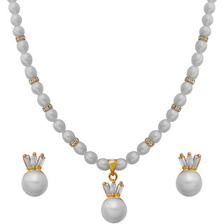 Nisa Pearls White Coloured Gold Plated Necklace (Design 48)