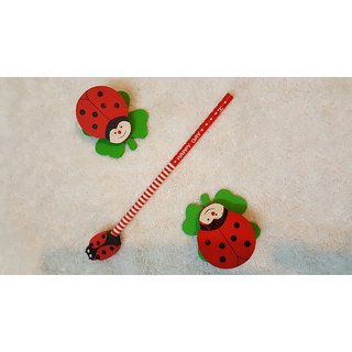 Twin Magnetic Clips and Magnetic Eraser with Pencil Holder