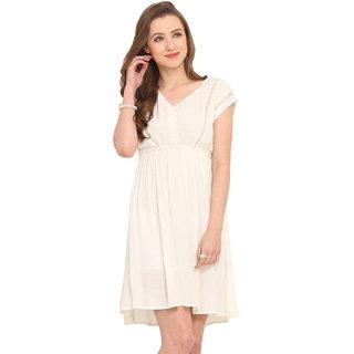 Label VR White Plain A Line Dress For Women