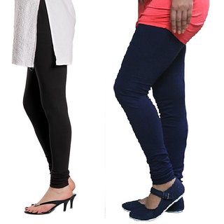 Stylobby Black And Navy Blue Cotton Lycra (Pack Of 2 Leggings)