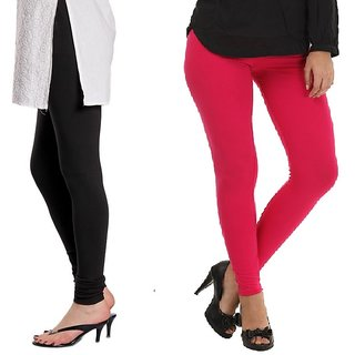 Stylobby Black And Hot Pink Cotton Lycra (Pack Of 2 Leggings)