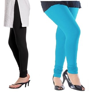Stylobby Black And Sky Blue Cotton Lycra (Pack Of 2 Leggings)